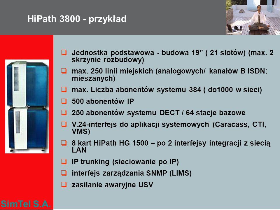 HiPath 3800 - przykład Jednostka podstawowa - budowa 19 ( 21 slotów) (max. 2 skrzynie rozbudowy)
