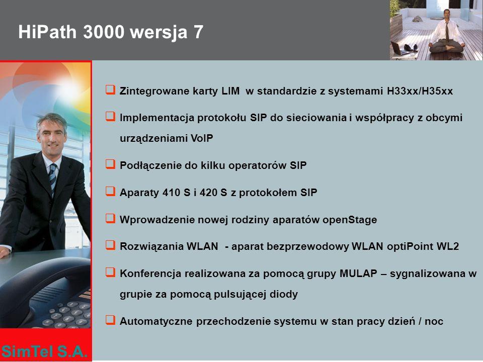 HiPath 3000 wersja 7 Zintegrowane karty LIM w standardzie z systemami H33xx/H35xx.