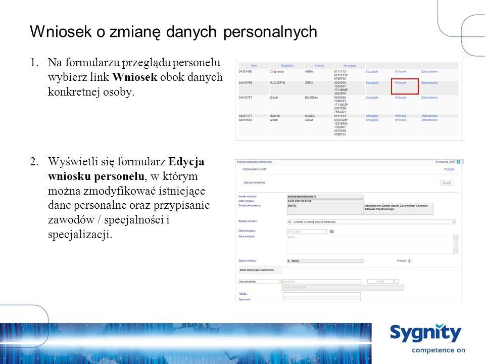 Wniosek o zmianę danych personalnych