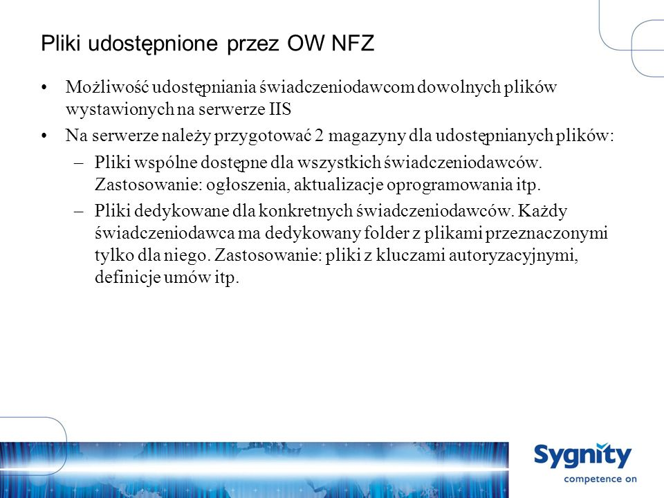 Pliki udostępnione przez OW NFZ