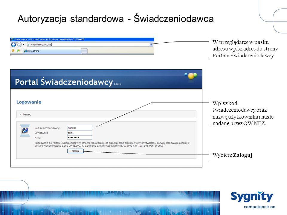 Autoryzacja standardowa - Świadczeniodawca