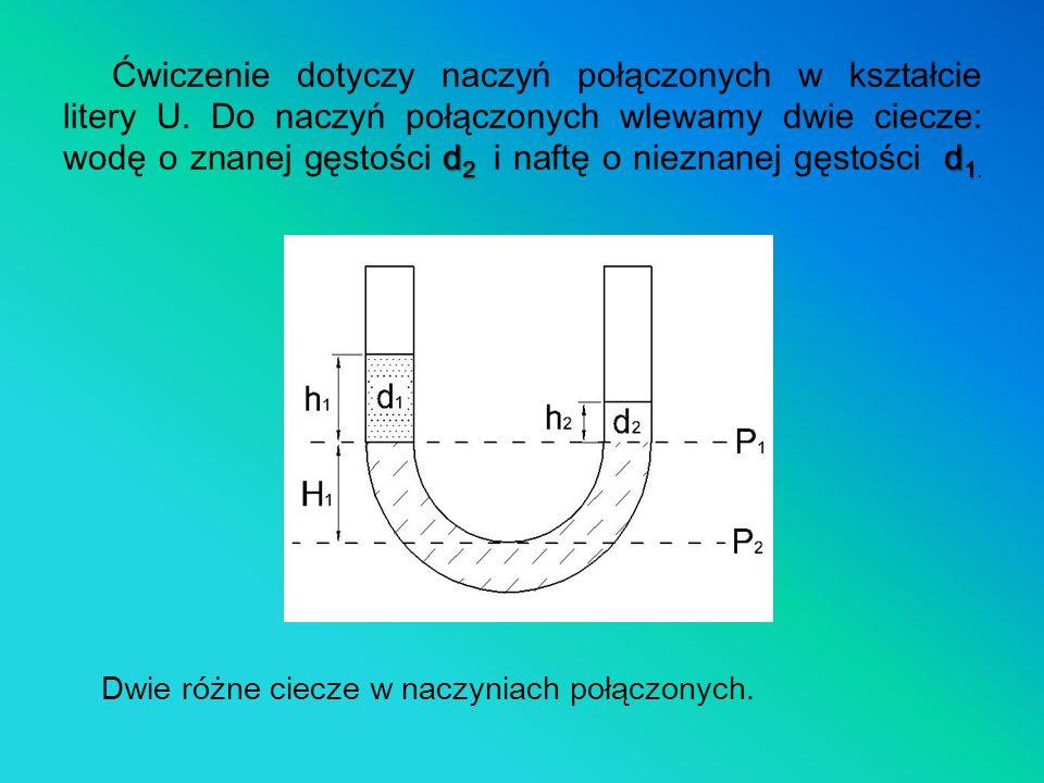 Ćwiczenie dotyczy naczyń połączonych w kształcie litery U