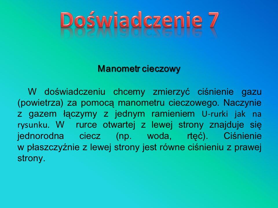 Doświadczenie 7 Manometr cieczowy