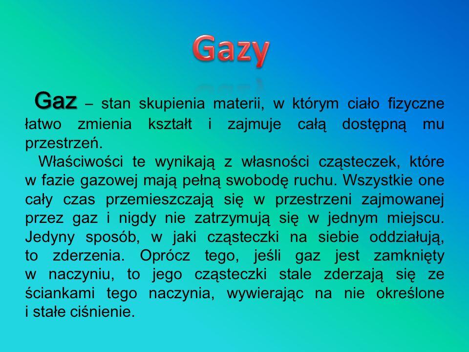 Gazy Gaz – stan skupienia materii, w którym ciało fizyczne łatwo zmienia kształt i zajmuje całą dostępną mu przestrzeń.