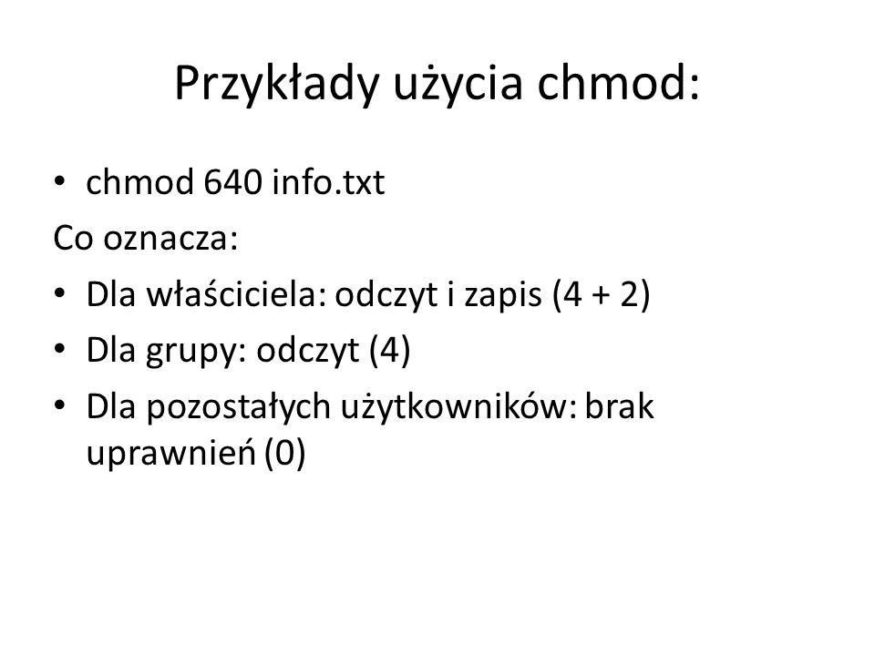 Przykłady użycia chmod: