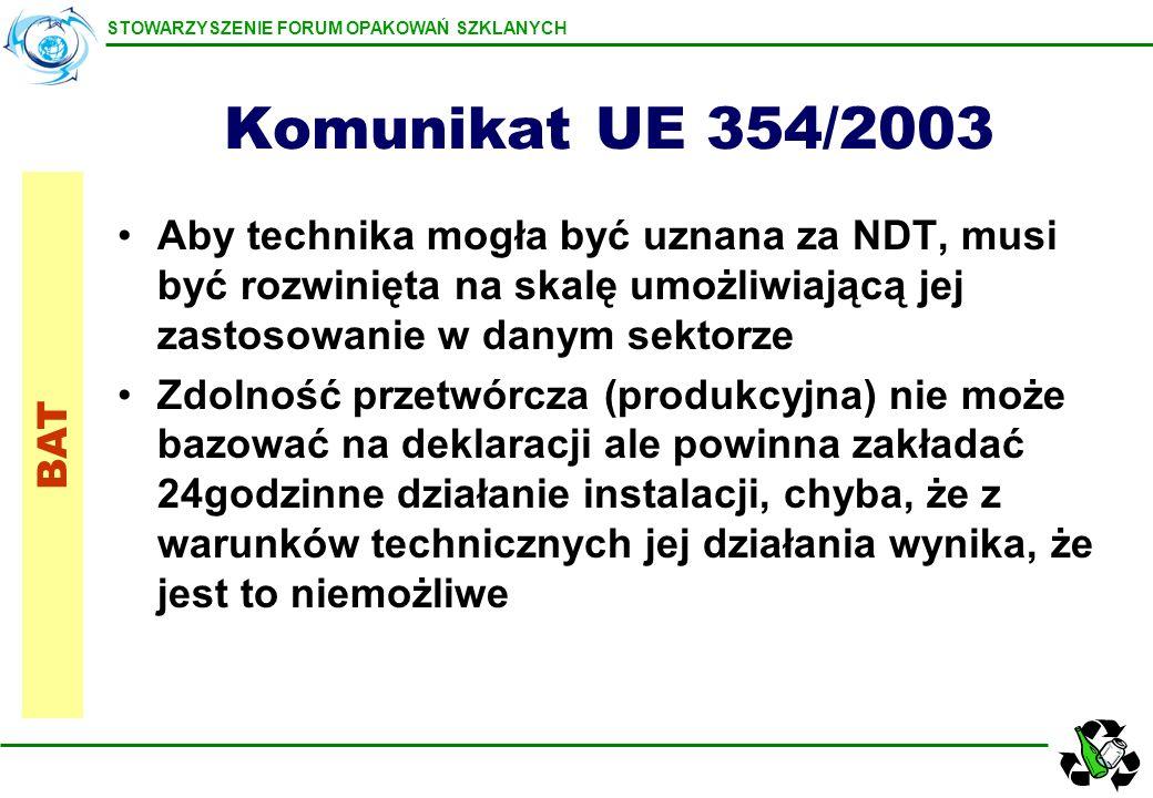 Komunikat UE 354/2003 Aby technika mogła być uznana za NDT, musi być rozwinięta na skalę umożliwiającą jej zastosowanie w danym sektorze.