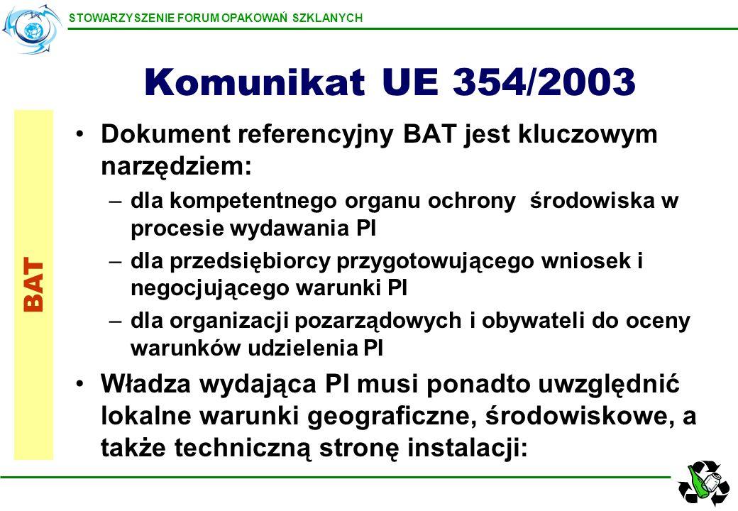 Komunikat UE 354/2003 Dokument referencyjny BAT jest kluczowym narzędziem: dla kompetentnego organu ochrony środowiska w procesie wydawania PI.