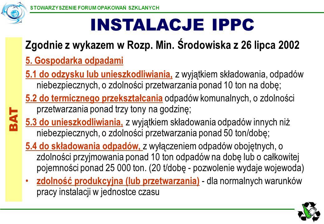 INSTALACJE IPPC Zgodnie z wykazem w Rozp. Min. Środowiska z 26 lipca 2002. 5. Gospodarka odpadami.
