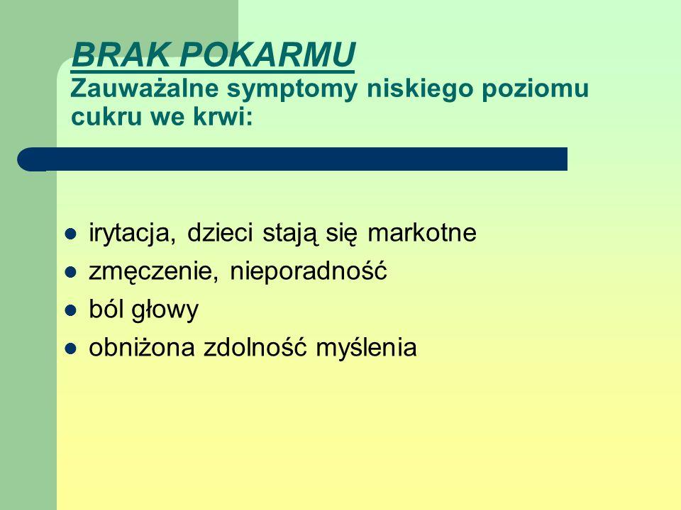 BRAK POKARMU Zauważalne symptomy niskiego poziomu cukru we krwi: