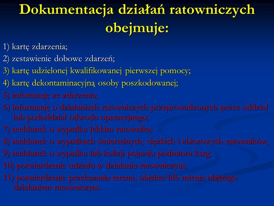 Dokumentacja działań ratowniczych obejmuje:
