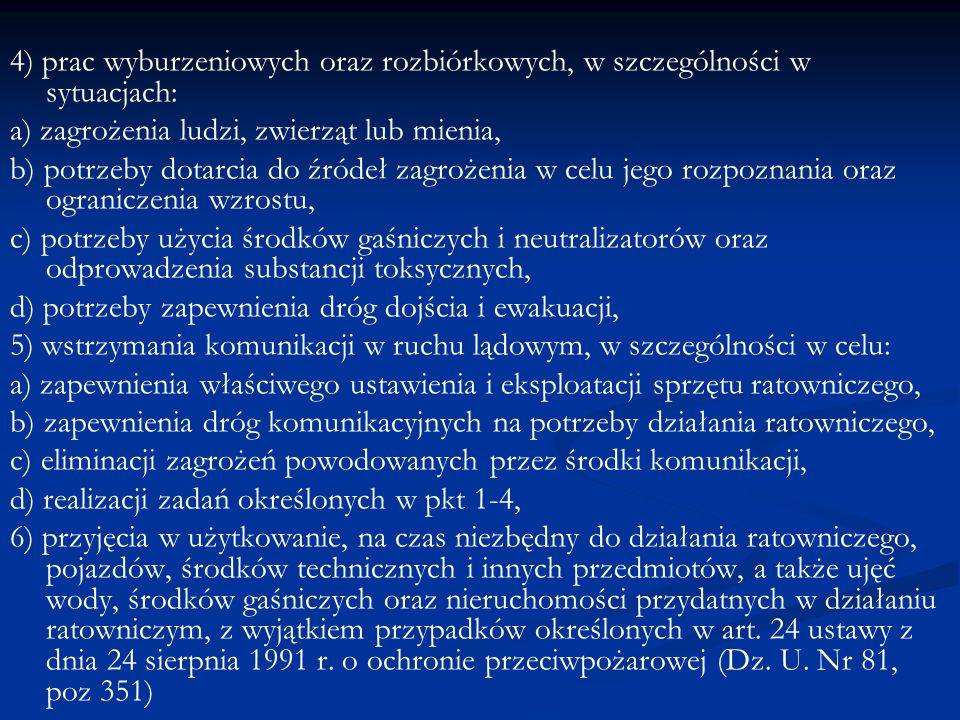 4) prac wyburzeniowych oraz rozbiórkowych, w szczególności w sytuacjach: