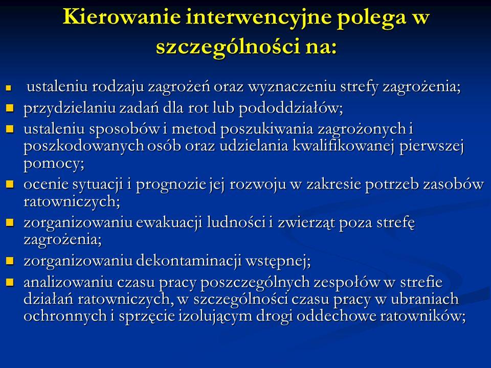 Kierowanie interwencyjne polega w szczególności na: