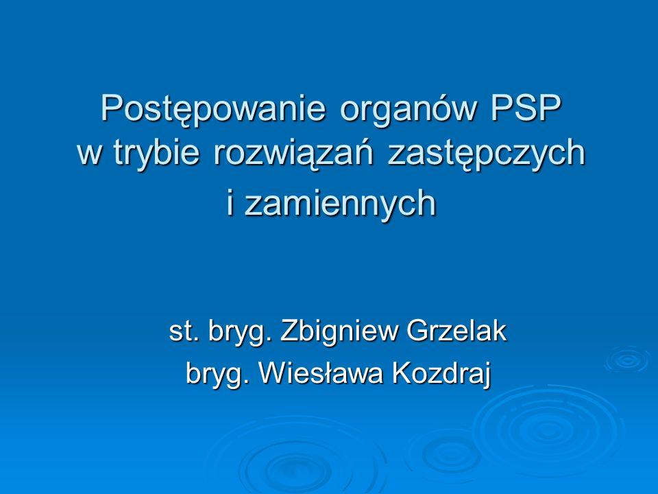 Postępowanie organów PSP w trybie rozwiązań zastępczych i zamiennych