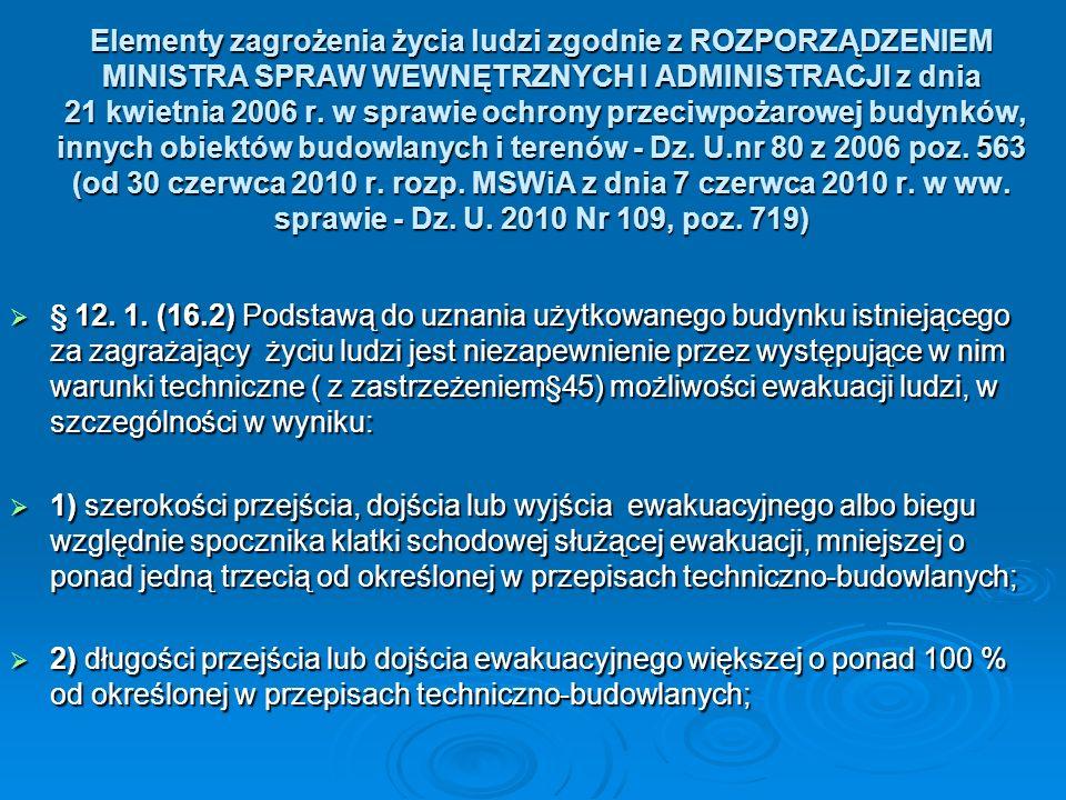 Elementy zagrożenia życia ludzi zgodnie z ROZPORZĄDZENIEM MINISTRA SPRAW WEWNĘTRZNYCH I ADMINISTRACJI z dnia 21 kwietnia 2006 r. w sprawie ochrony przeciwpożarowej budynków, innych obiektów budowlanych i terenów - Dz. U.nr 80 z 2006 poz. 563 (od 30 czerwca 2010 r. rozp. MSWiA z dnia 7 czerwca 2010 r. w ww. sprawie - Dz. U. 2010 Nr 109, poz. 719)