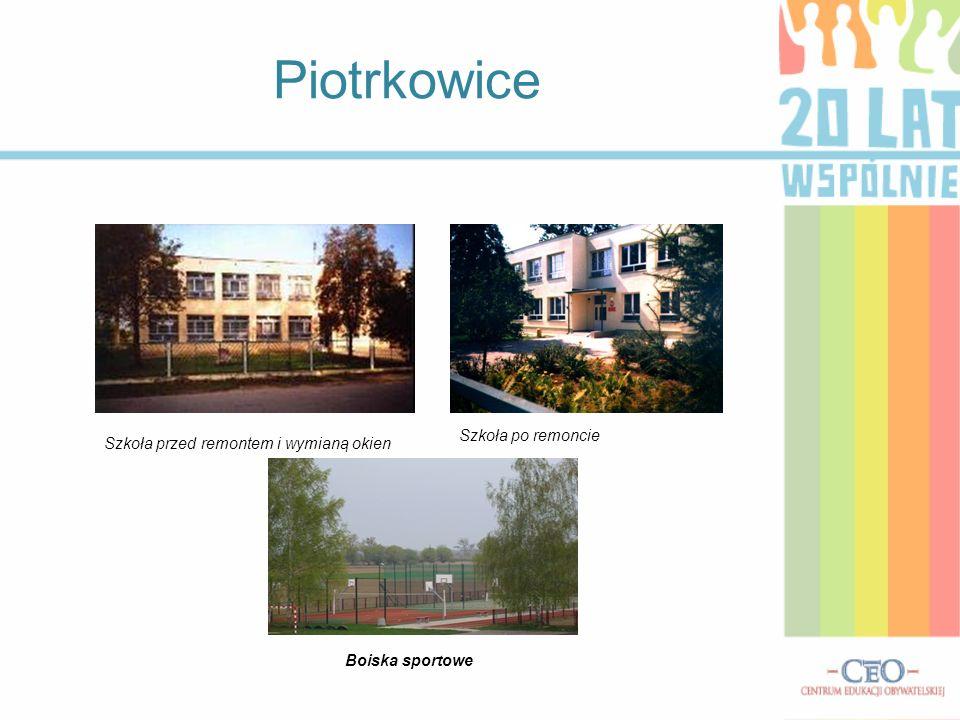 Piotrkowice Szkoła po remoncie Szkoła przed remontem i wymianą okien