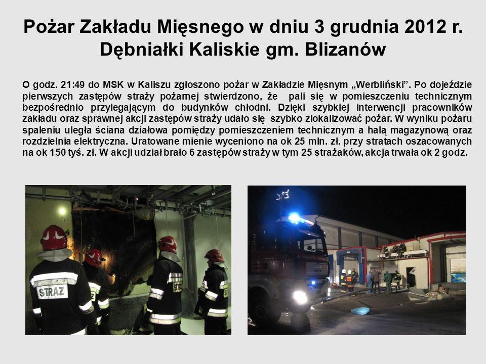 Pożar Zakładu Mięsnego w dniu 3 grudnia 2012 r. Dębniałki Kaliskie gm