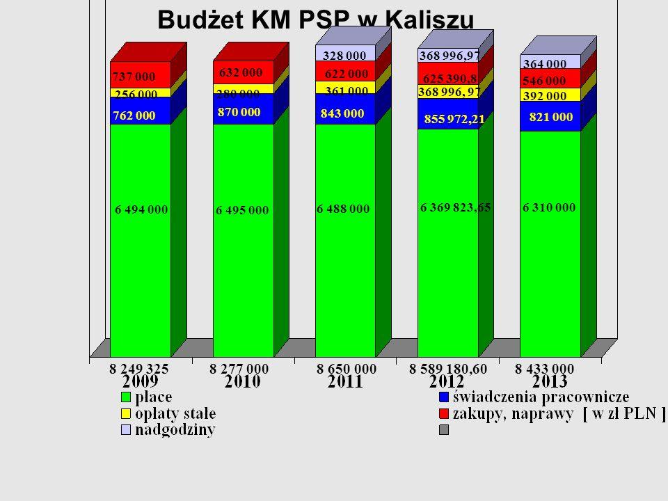 Budżet KM PSP w Kaliszu 328 000. 368 996,97. 364 000. 737 000. 632 000. 622 000. 625 390,8. 546 000.
