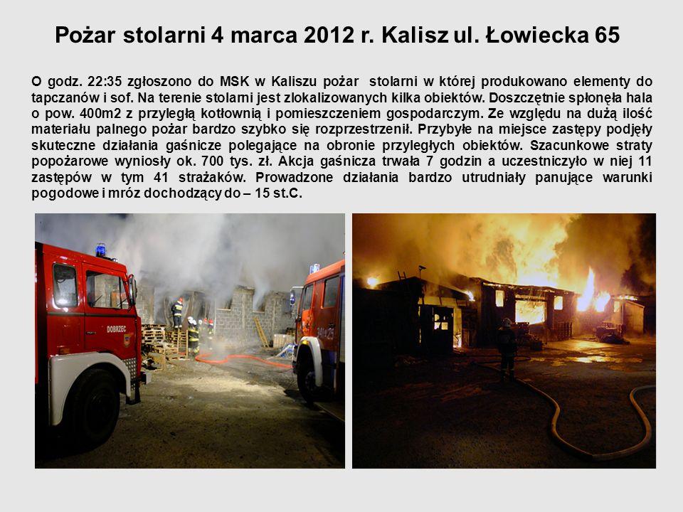 Pożar stolarni 4 marca 2012 r. Kalisz ul. Łowiecka 65