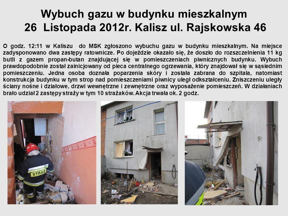 Wybuch gazu w budynku mieszkalnym 26 Listopada 2012r. Kalisz ul
