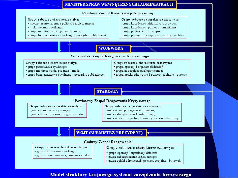 Model struktury krajowego systemu zarządzania kryzysowego