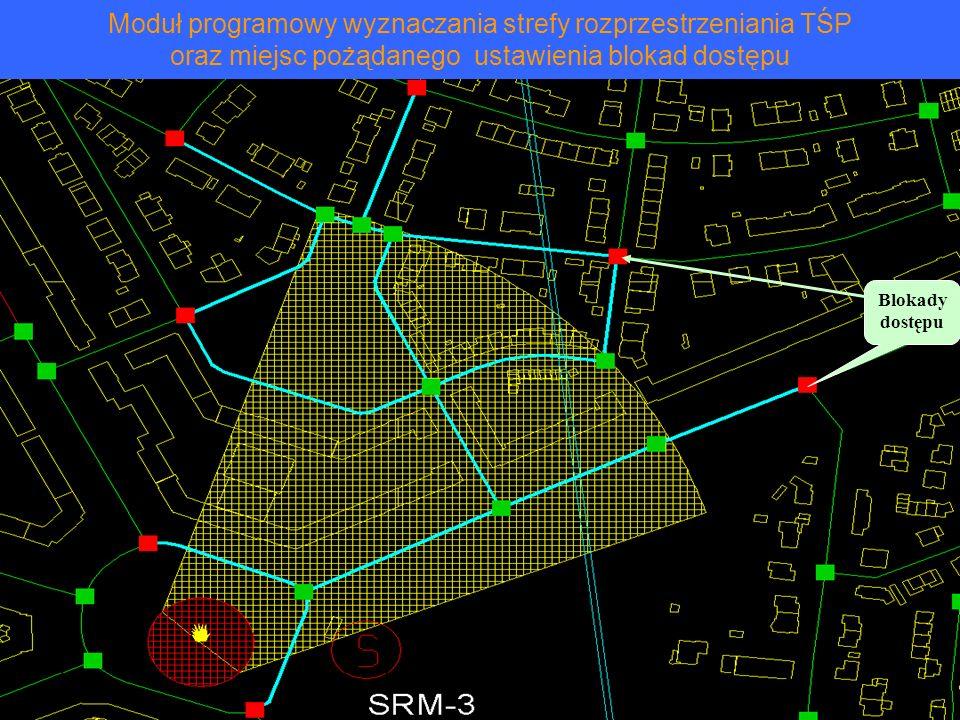 Moduł programowy wyznaczania strefy rozprzestrzeniania TŚP oraz miejsc pożądanego ustawienia blokad dostępu