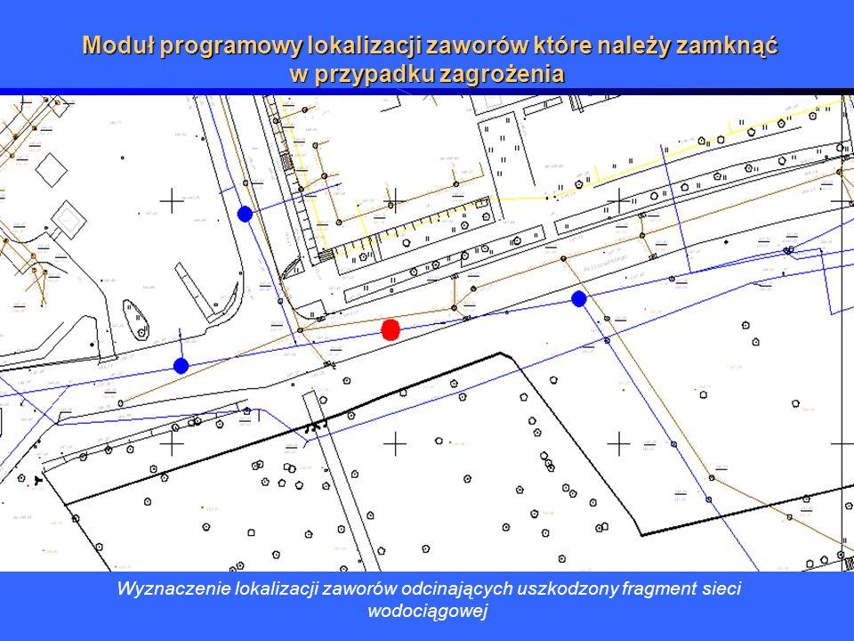 Wyznaczenie lokalizacji zaworów odcinających uszkodzony fragment sieci