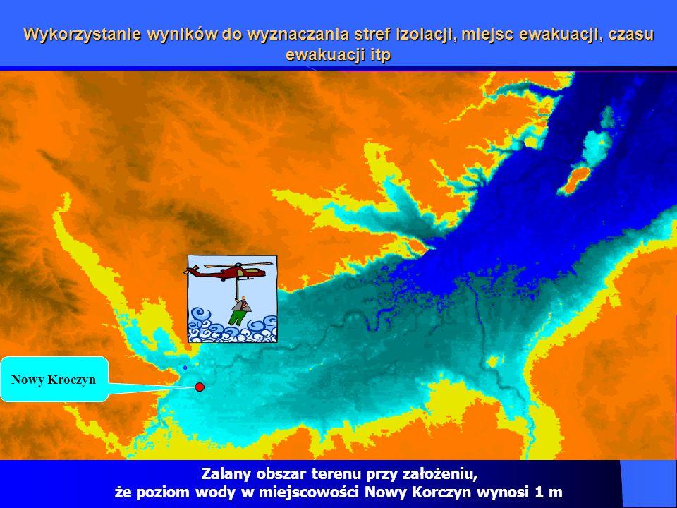 że poziom wody w miejscowości Nowy Korczyn wynosi 1 m
