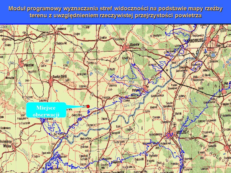 Moduł programowy wyznaczania stref widoczności na podstawie mapy rzeźby terenu z uwzględnieniem rzeczywistej przejrzystości powietrza