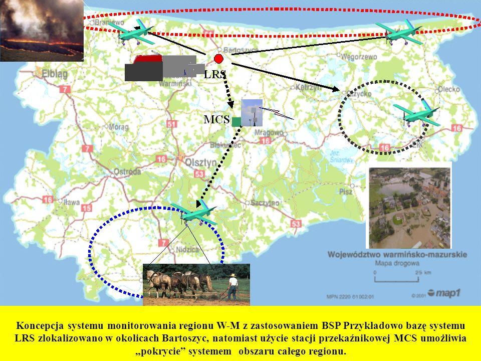 """Koncepcja systemu monitorowania regionu W-M z zastosowaniem BSP Przykładowo bazę systemu LRS zlokalizowano w okolicach Bartoszyc, natomiast użycie stacji przekaźnikowej MCS umożliwia """"pokrycie systemem obszaru całego regionu."""