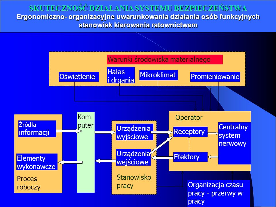 SKUTECZNOŚĆ DZIAŁANIA SYSTEMU BEZPIECZEŃSTWA Ergonomiczno- organizacyjne uwarunkowania działania osób funkcyjnych stanowisk kierowania ratownictwem