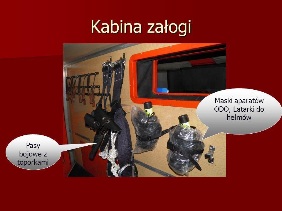 Kabina załogi Maski aparatów ODO, Latarki do hełmów
