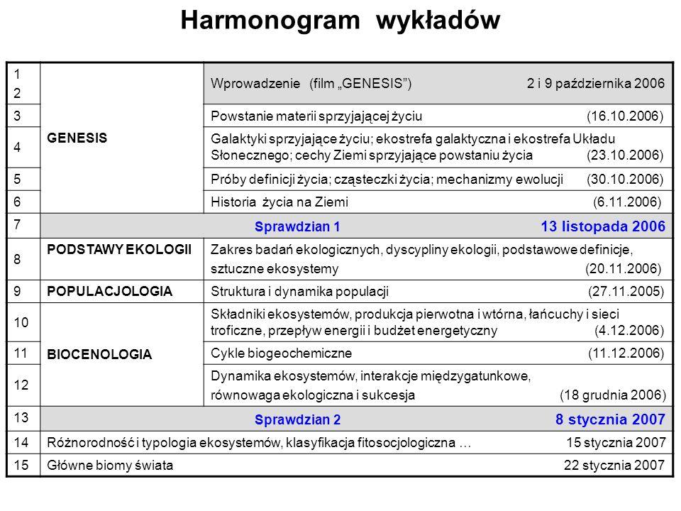 Harmonogram wykładów 1 2 GENESIS
