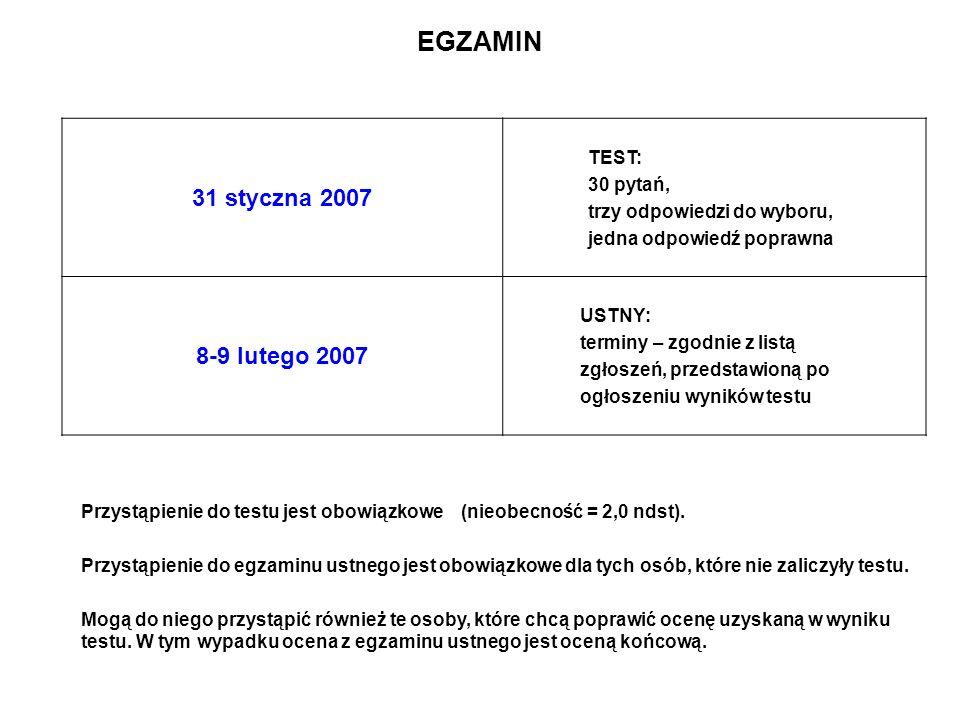 EGZAMIN 31 styczna 2007 8-9 lutego 2007 TEST: 30 pytań,