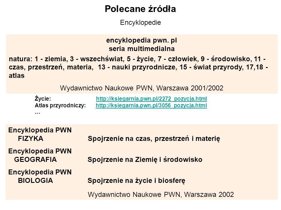 Polecane źródła Encyklopedie encyklopedia pwn. pl seria multimedialna