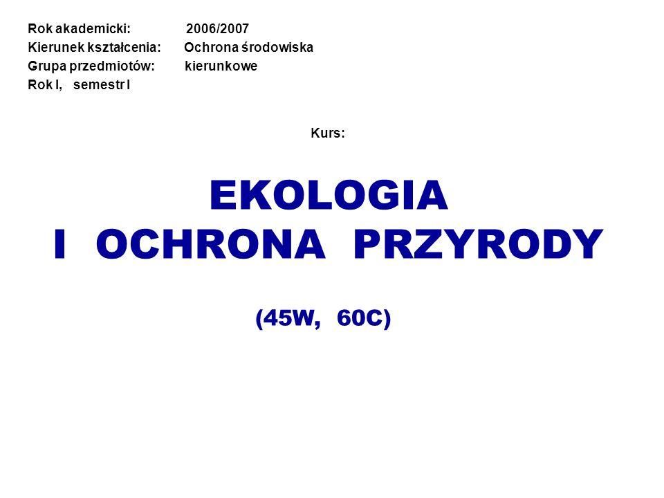 Kurs: EKOLOGIA I OCHRONA PRZYRODY