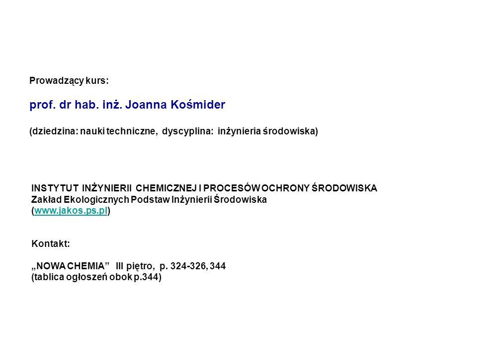 prof. dr hab. inż. Joanna Kośmider