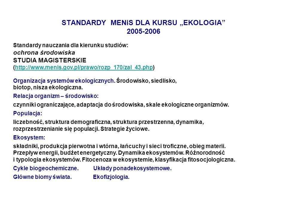 "STANDARDY MENiS DLA KURSU ""EKOLOGIA 2005-2006"