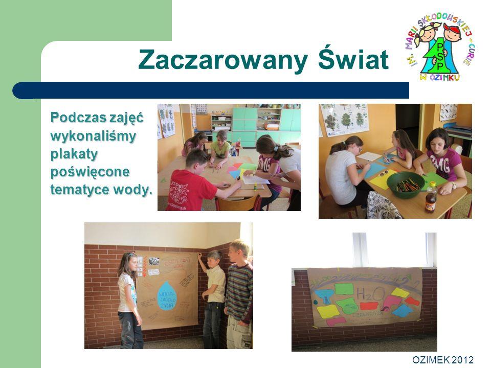 Zaczarowany Świat Podczas zajęć wykonaliśmy plakaty poświęcone tematyce wody. OZIMEK 2012
