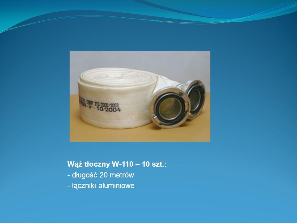 Wąż tłoczny W-110 – 10 szt.: - długość 20 metrów - łączniki aluminiowe