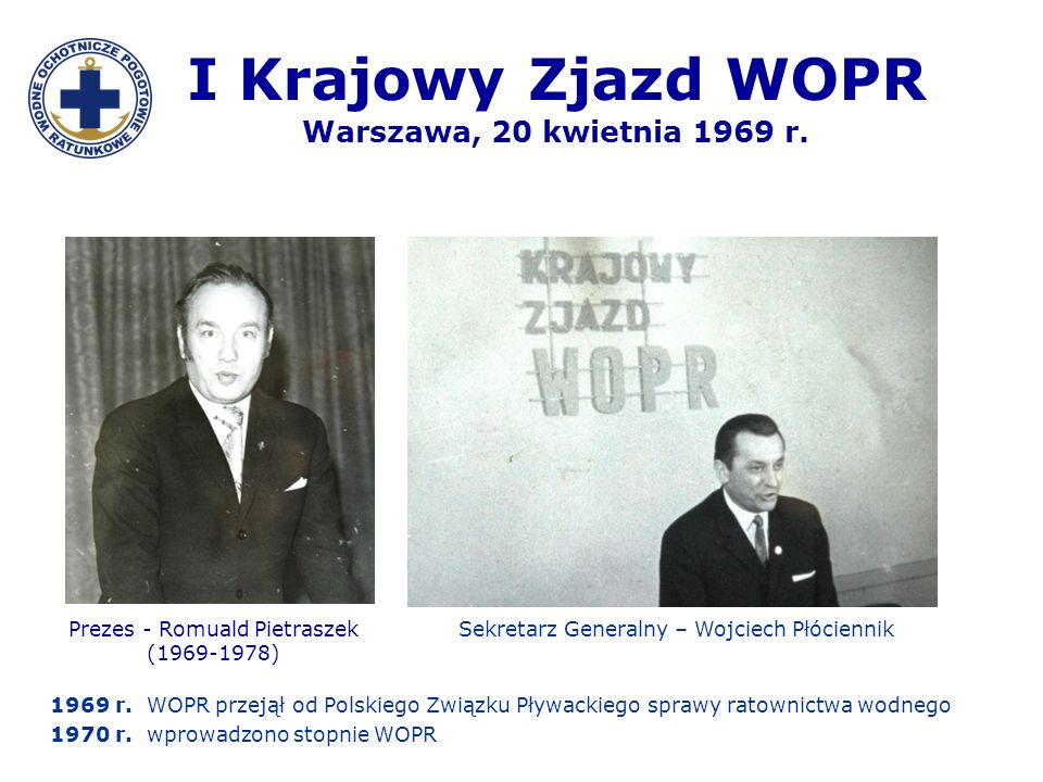 I Krajowy Zjazd WOPR Warszawa, 20 kwietnia 1969 r.