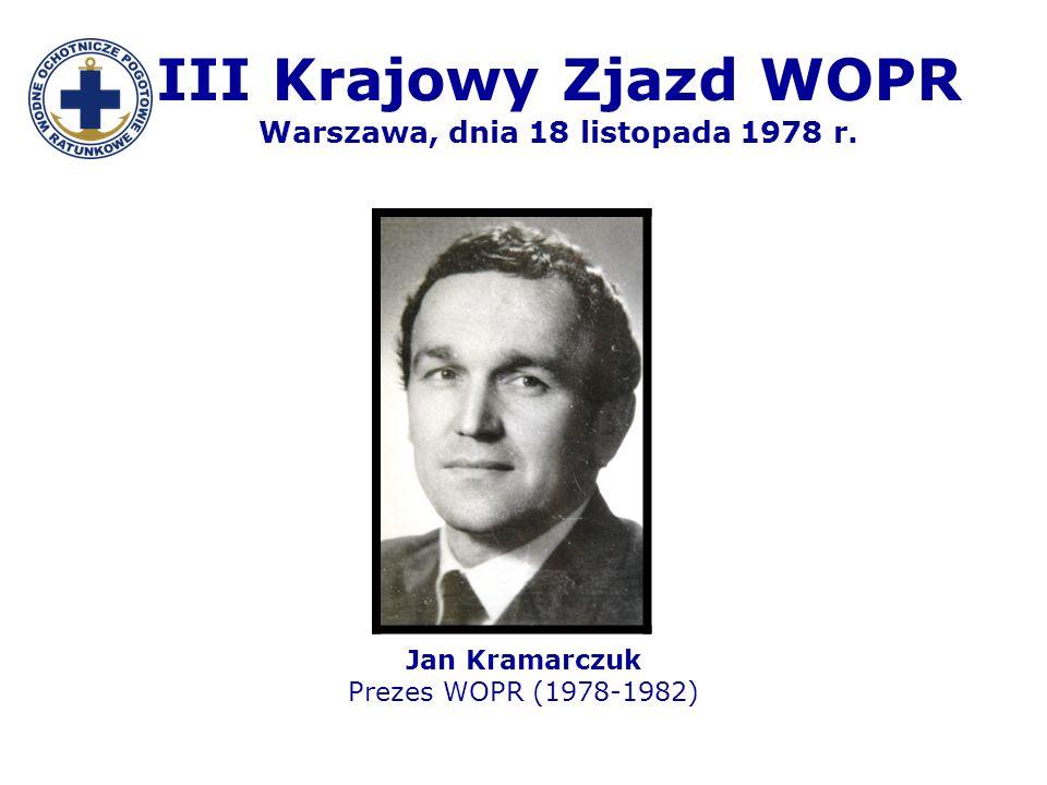 III Krajowy Zjazd WOPR Warszawa, dnia 18 listopada 1978 r.