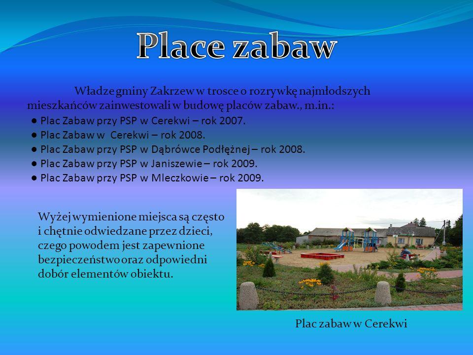 Place zabaw Władze gminy Zakrzew w trosce o rozrywkę najmłodszych mieszkańców zainwestowali w budowę placów zabaw., m.in.: