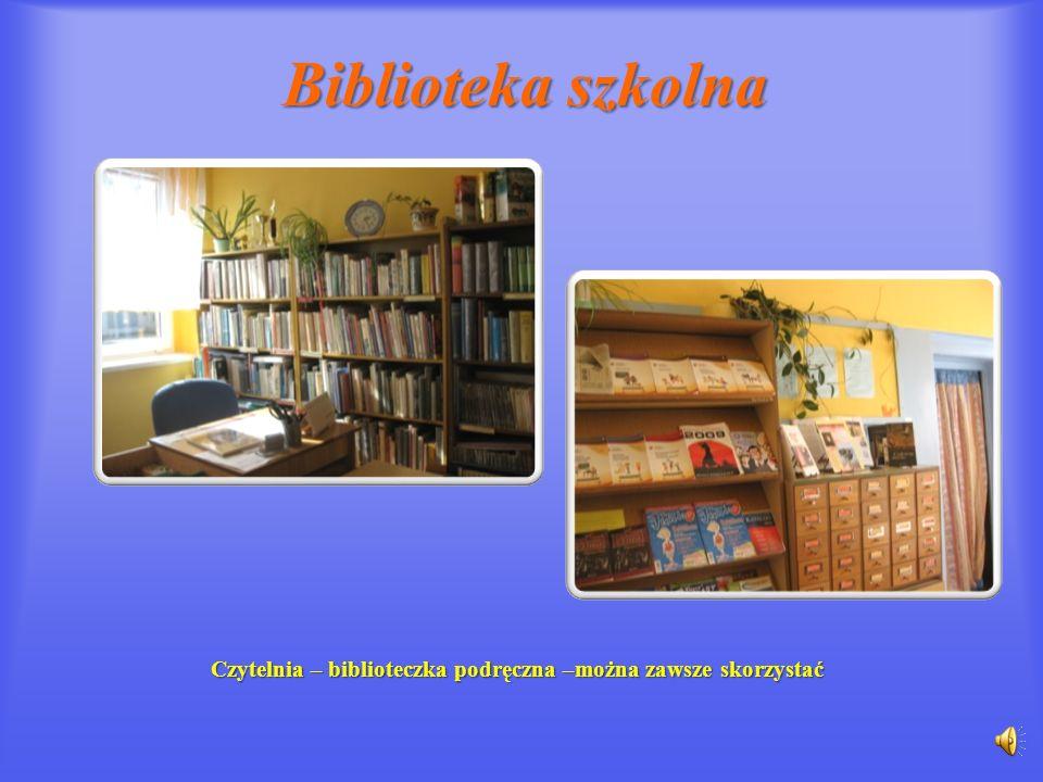 Czytelnia – biblioteczka podręczna –można zawsze skorzystać