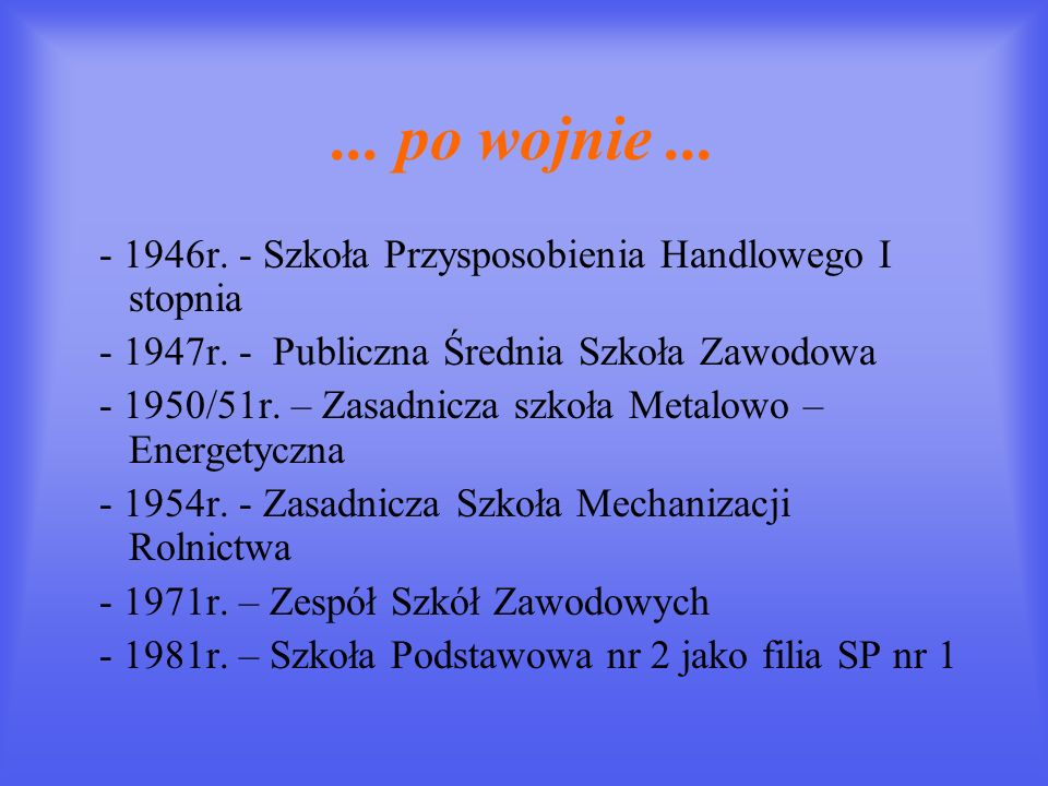 ... po wojnie ... - 1946r. - Szkoła Przysposobienia Handlowego I stopnia. - 1947r. - Publiczna Średnia Szkoła Zawodowa.