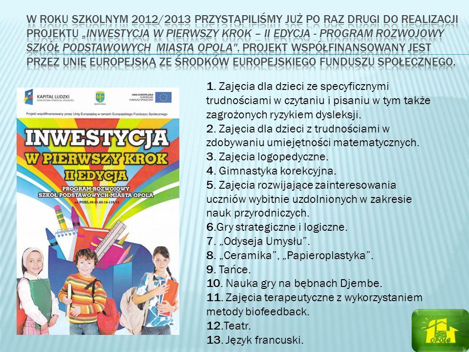 """w roku szkolnym 2012/2013 przystąpiliśmy już po raz drugi do realizacji projektu """"Inwestycja w pierwszy krok – II edycja - program rozwojowy szkół podstawowych Miasta Opola . Projekt współfinansowany jest przez Unię Europejską ze środków Europejskiego Funduszu Społecznego."""