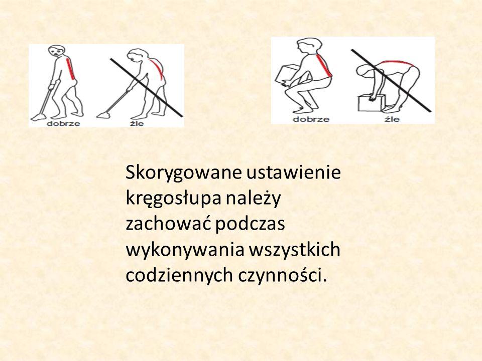 Skorygowane ustawienie kręgosłupa należy zachować podczas wykonywania wszystkich codziennych czynności.