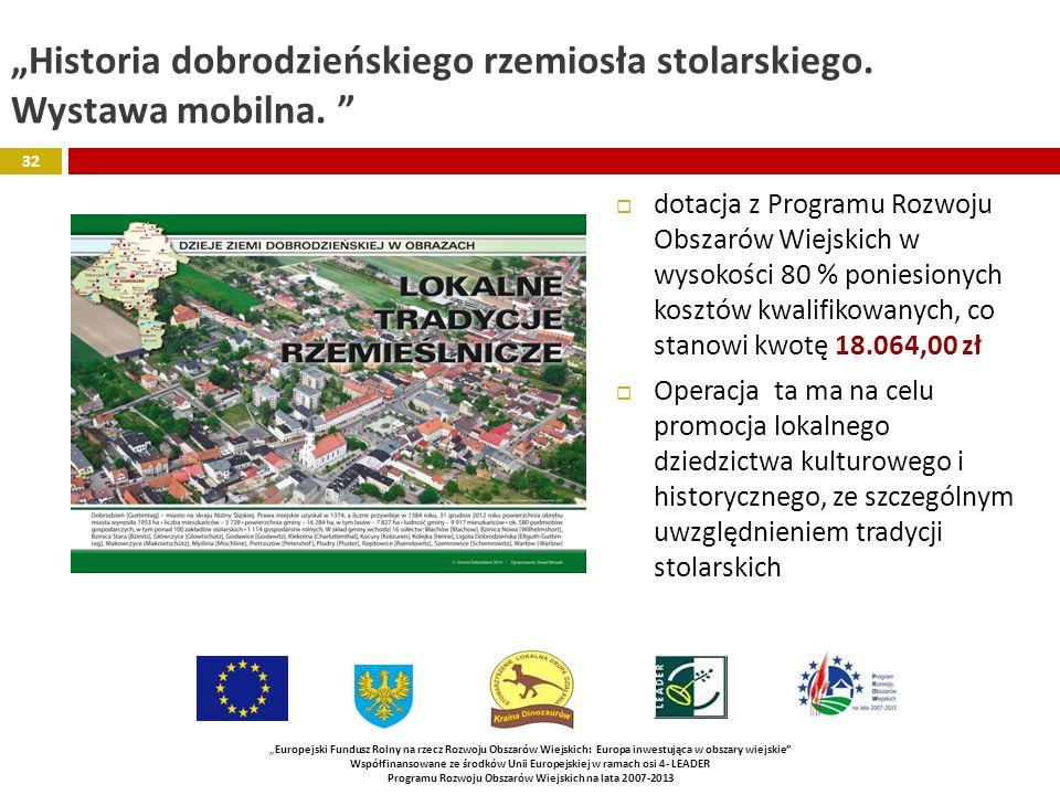 """""""Historia dobrodzieńskiego rzemiosła stolarskiego. Wystawa mobilna."""