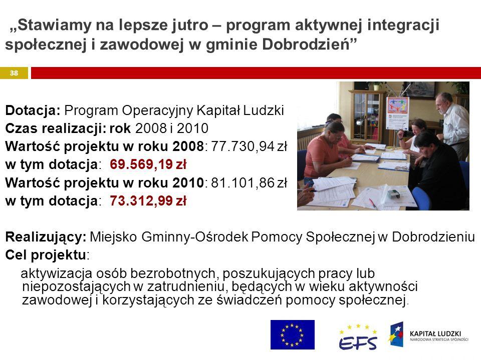 """""""Stawiamy na lepsze jutro – program aktywnej integracji społecznej i zawodowej w gminie Dobrodzień"""