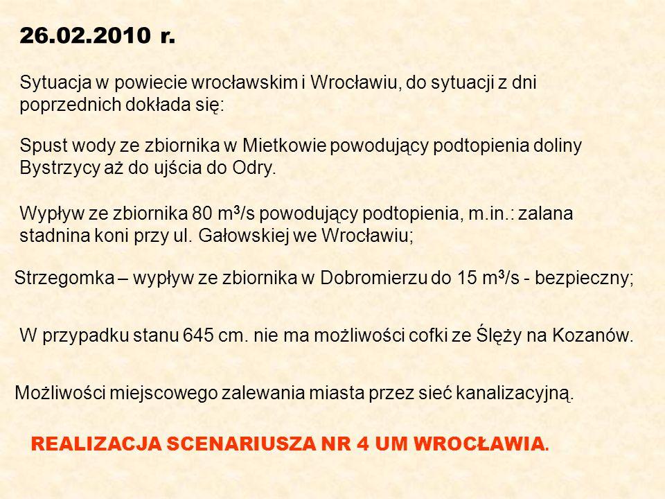 26.02.2010 r. Sytuacja w powiecie wrocławskim i Wrocławiu, do sytuacji z dni. poprzednich dokłada się:
