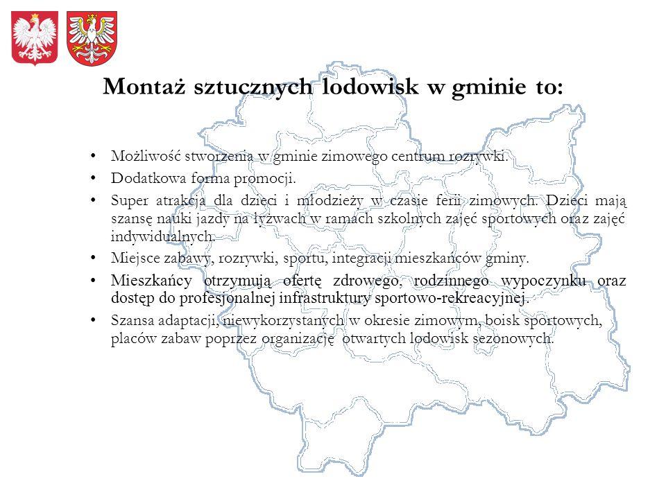 Montaż sztucznych lodowisk w gminie to: